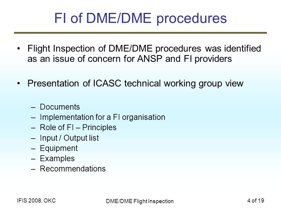 FI of DME/DME procedures
