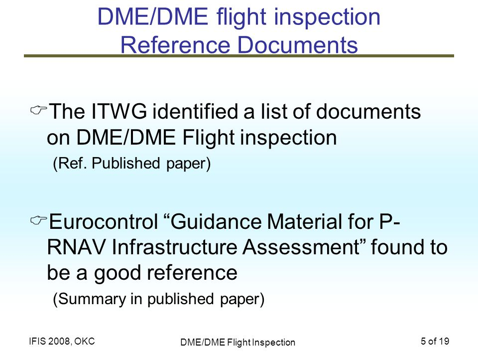 DME/DME flight inspection Reference Documents
