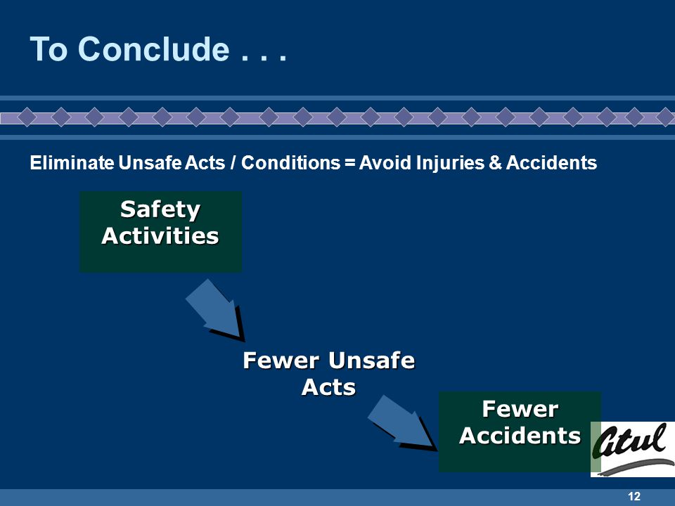 To Conclude . . . Safety Activities Fewer Unsafe Acts Fewer Accidents