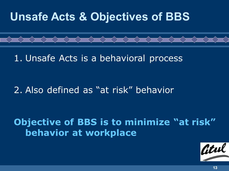 Unsafe Acts & Objectives of BBS