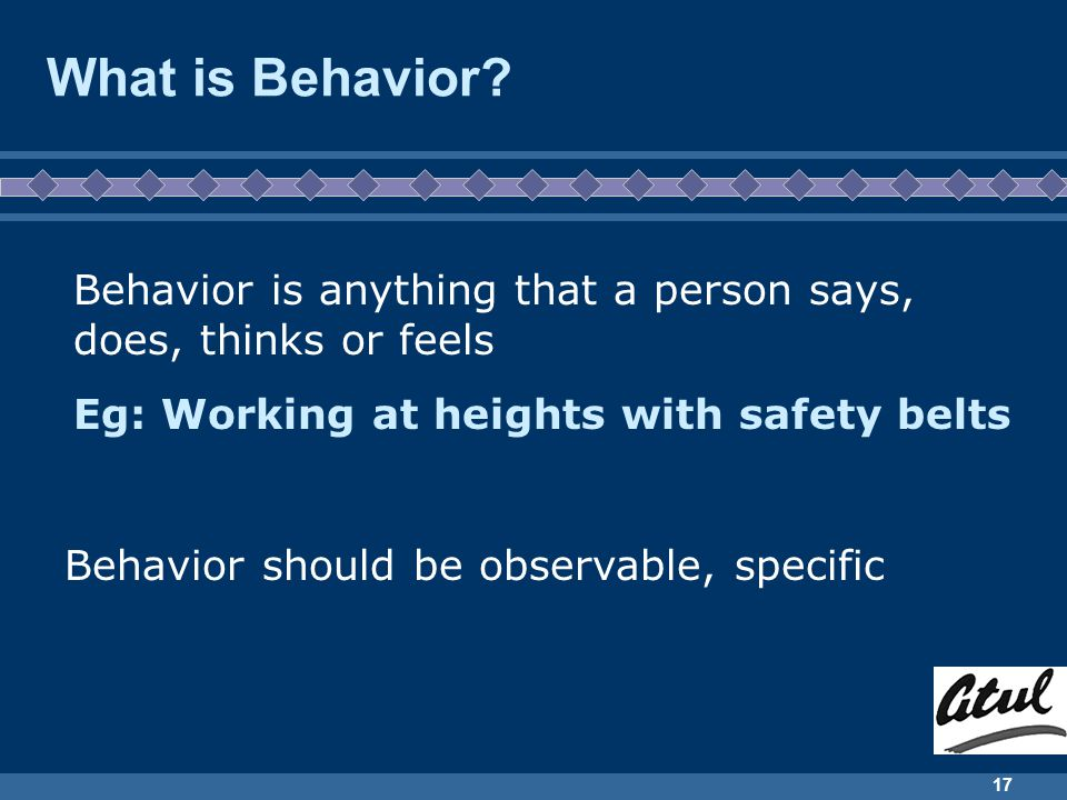 Behavior Based Safety NRK/Sep 2003. What is Behavior Behavior is anything that a person says, does, thinks or feels.