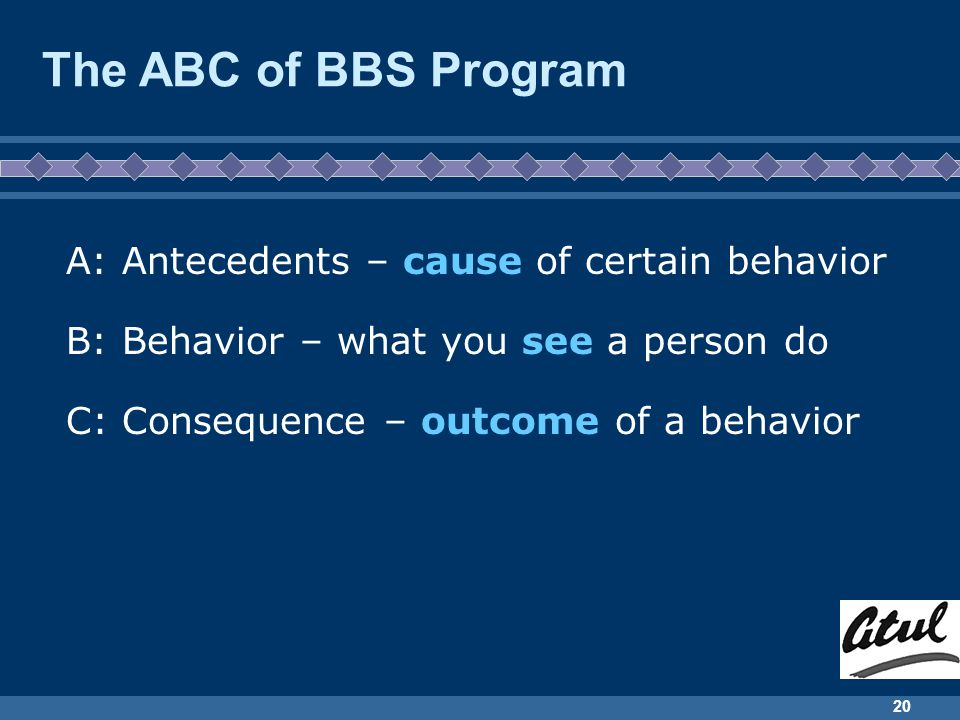 The ABC of BBS Program A: Antecedents – cause of certain behavior