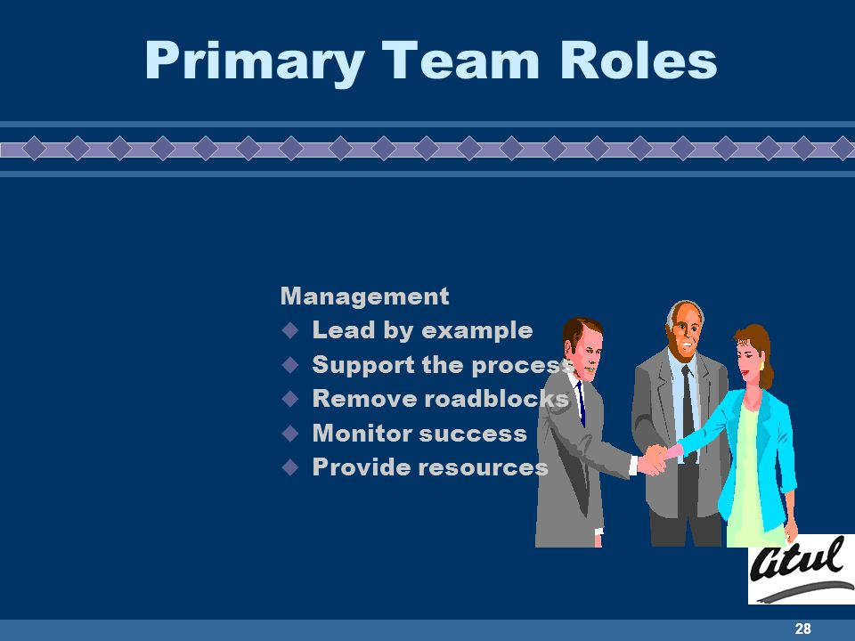Primary Team Roles Management Lead by example Support the process