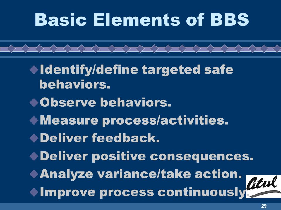 Basic Elements of BBS Identify/define targeted safe behaviors.