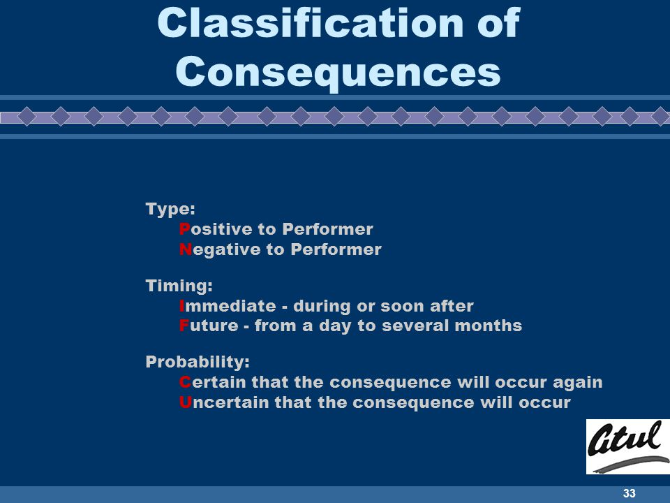 Classification of Consequences
