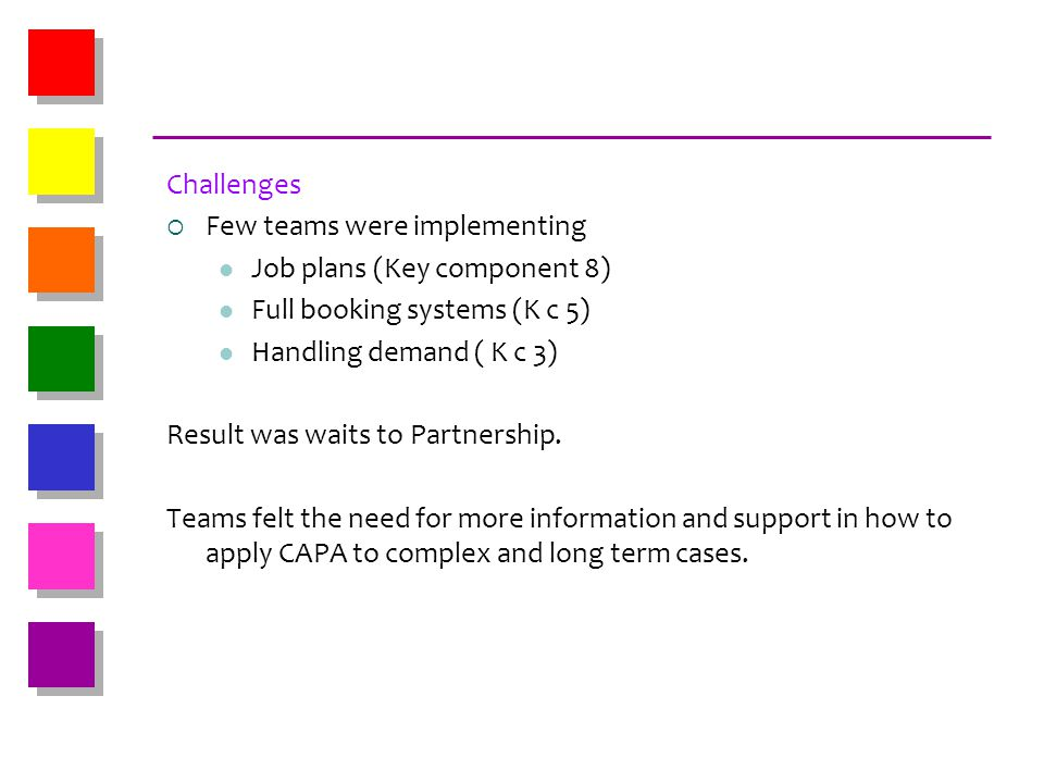 Challenges Few teams were implementing. Job plans (Key component 8) Full booking systems (K c 5) Handling demand ( K c 3)