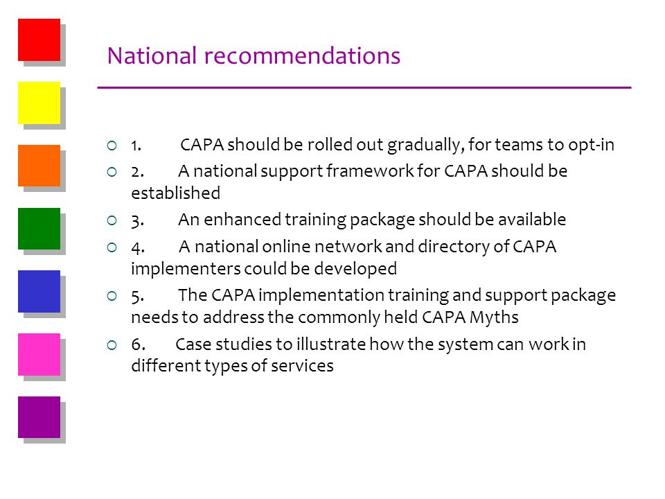 National recommendations
