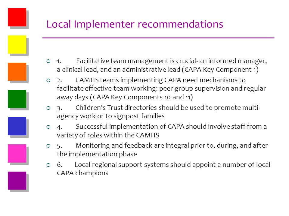 Local Implementer recommendations