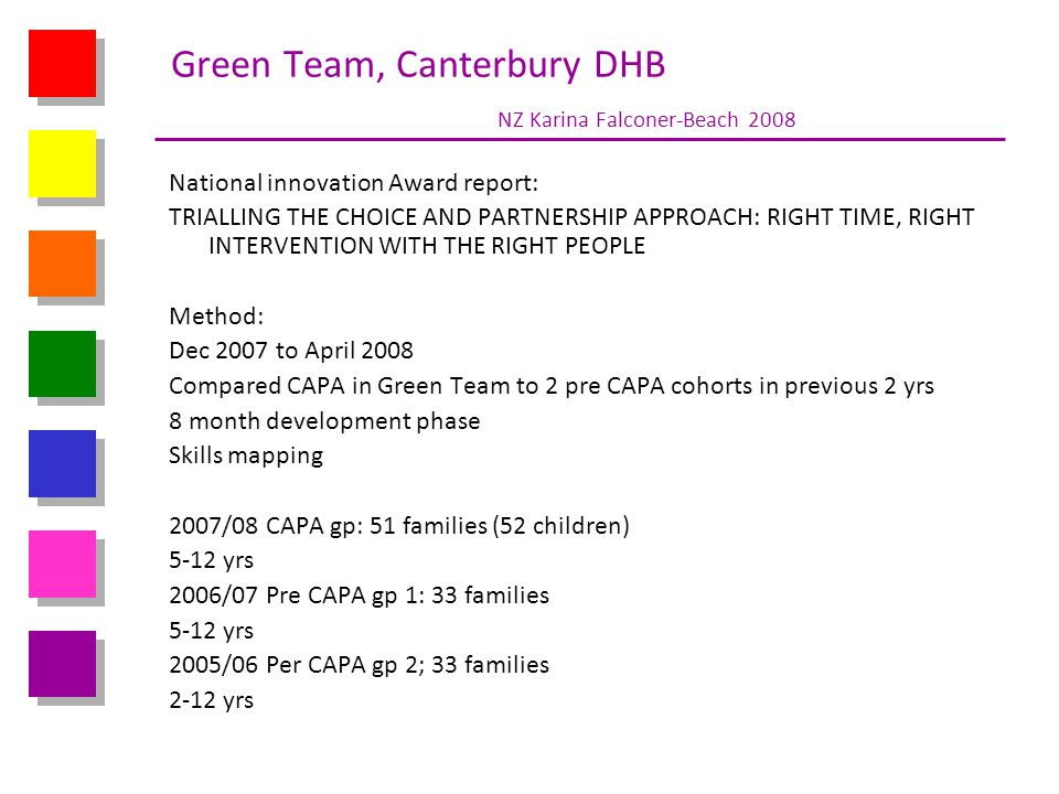 Green Team, Canterbury DHB NZ Karina Falconer-Beach 2008