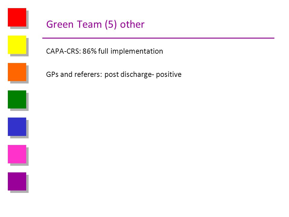 Green Team (5) other CAPA-CRS: 86% full implementation