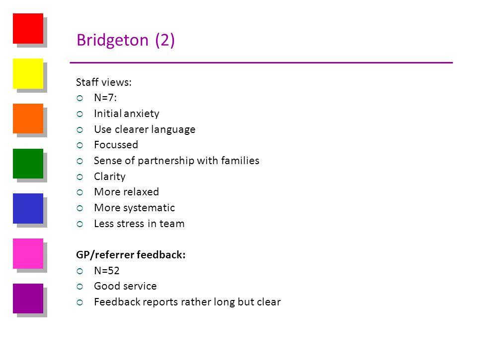 Bridgeton (2) Staff views: N=7: Initial anxiety Use clearer language