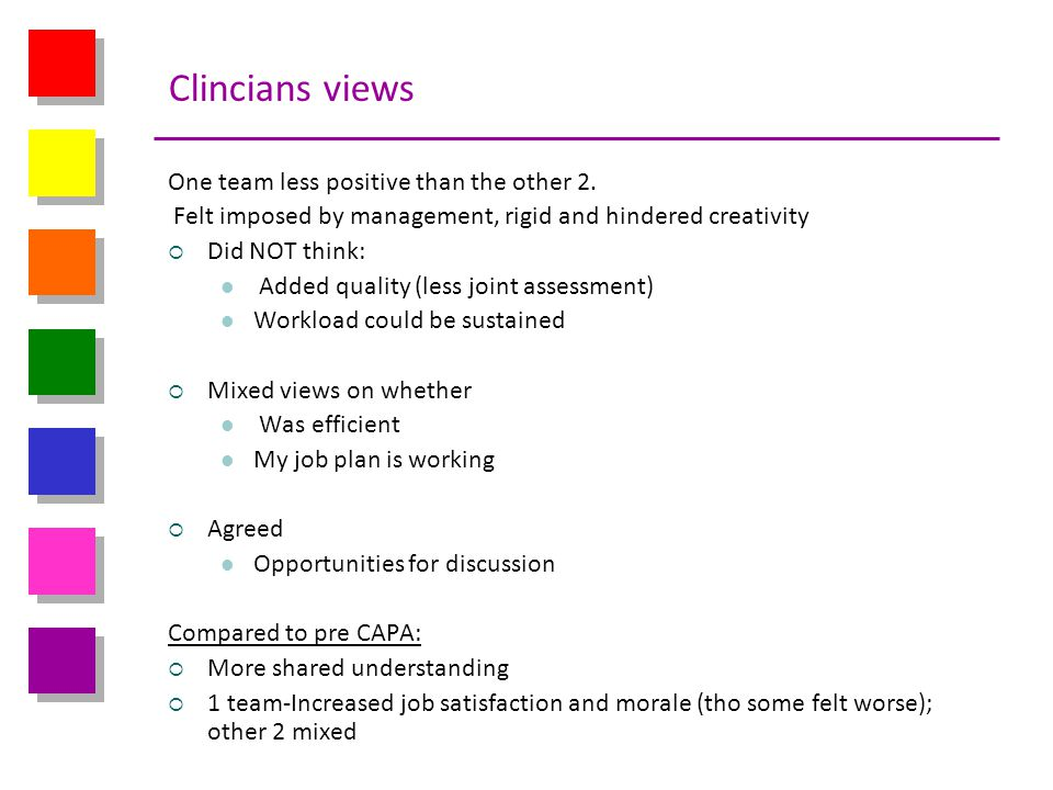 Clincians views One team less positive than the other 2.