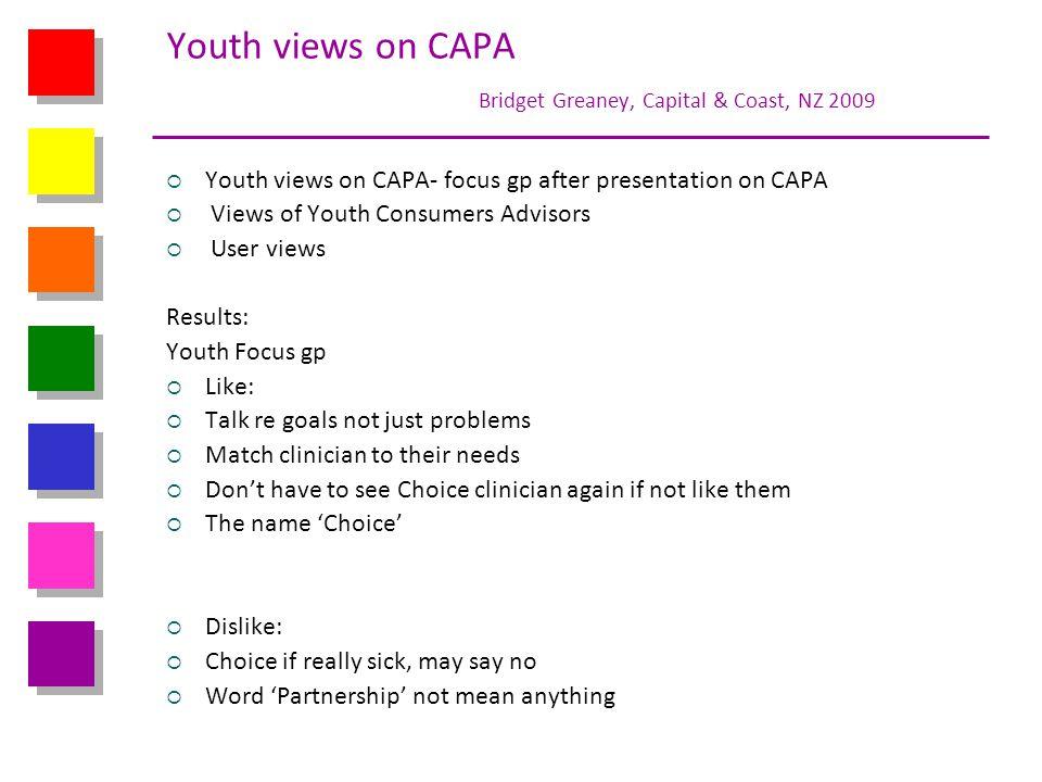 Youth views on CAPA Bridget Greaney, Capital & Coast, NZ 2009