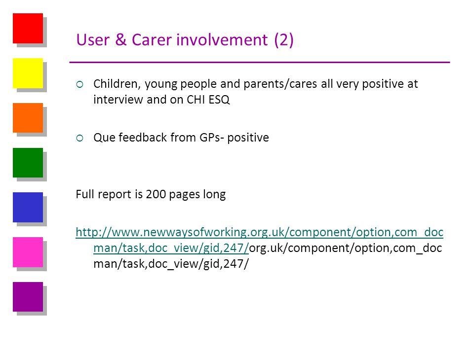 User & Carer involvement (2)