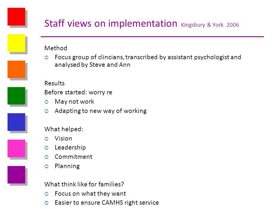 Staff views on implementation Kingsbury & York 2006