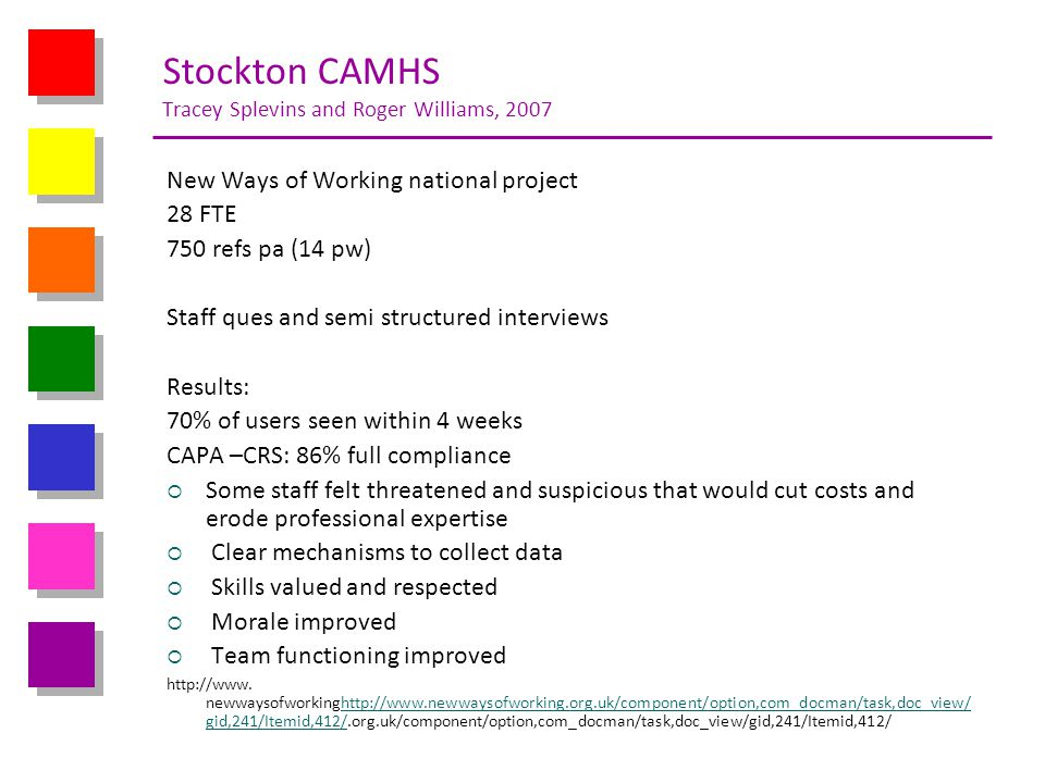 Stockton CAMHS Tracey Splevins and Roger Williams, 2007