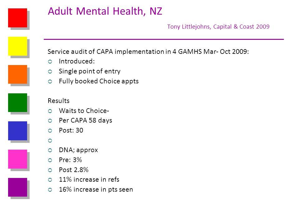 Adult Mental Health, NZ Tony Littlejohns, Capital & Coast 2009