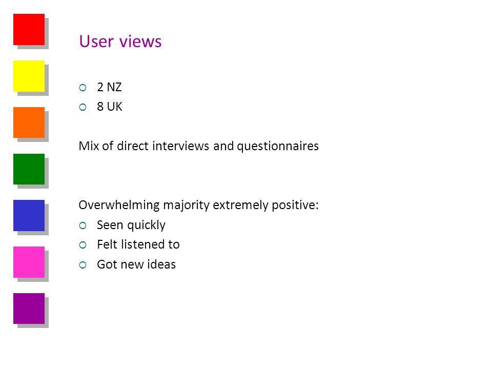 User views 2 NZ 8 UK Mix of direct interviews and questionnaires