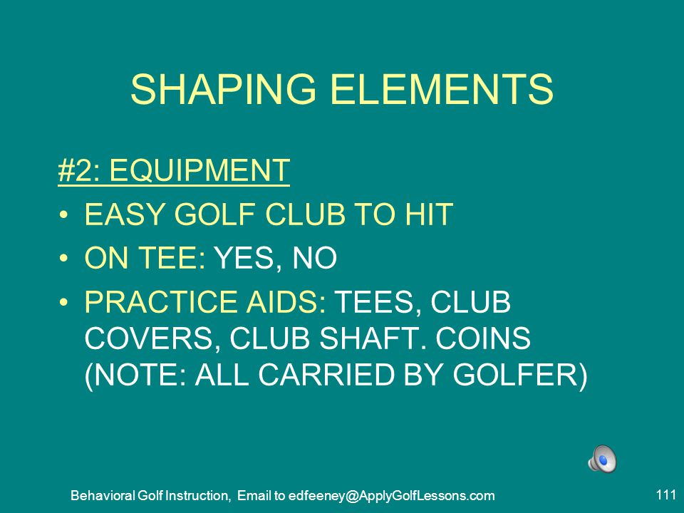 Behavioral Golf Instruction, Email to edfeeney@ApplyGolfLessons.com
