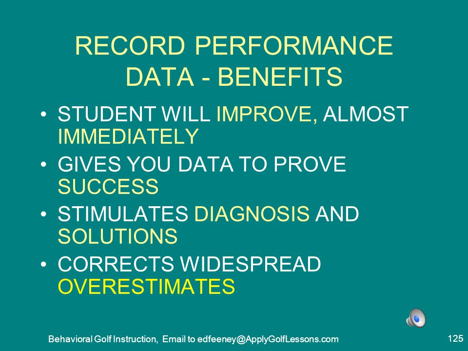 RECORD PERFORMANCE DATA - BENEFITS