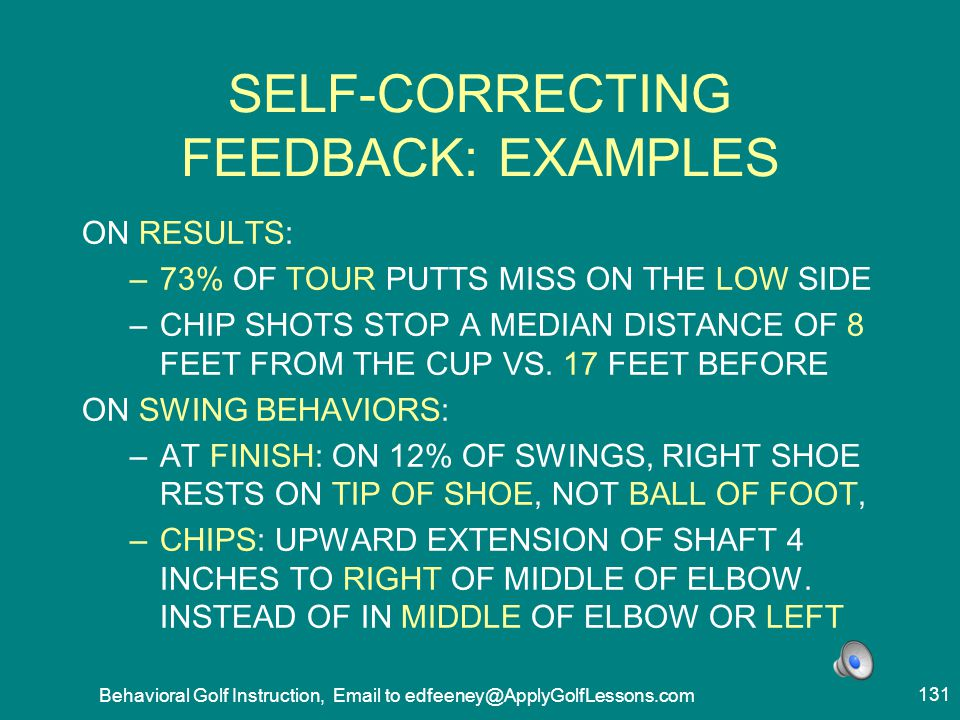 SELF-CORRECTING FEEDBACK: EXAMPLES