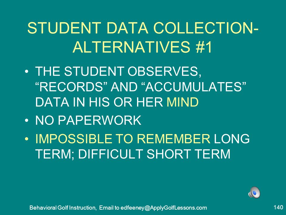 STUDENT DATA COLLECTION- ALTERNATIVES #1
