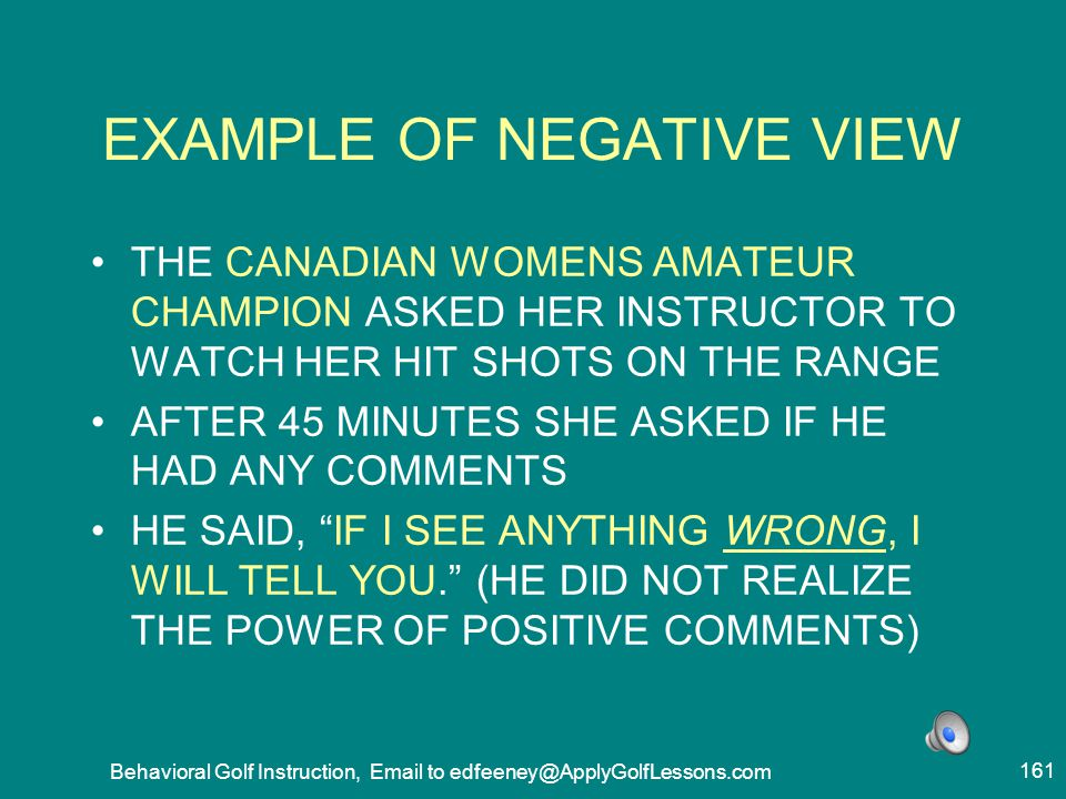 EXAMPLE OF NEGATIVE VIEW