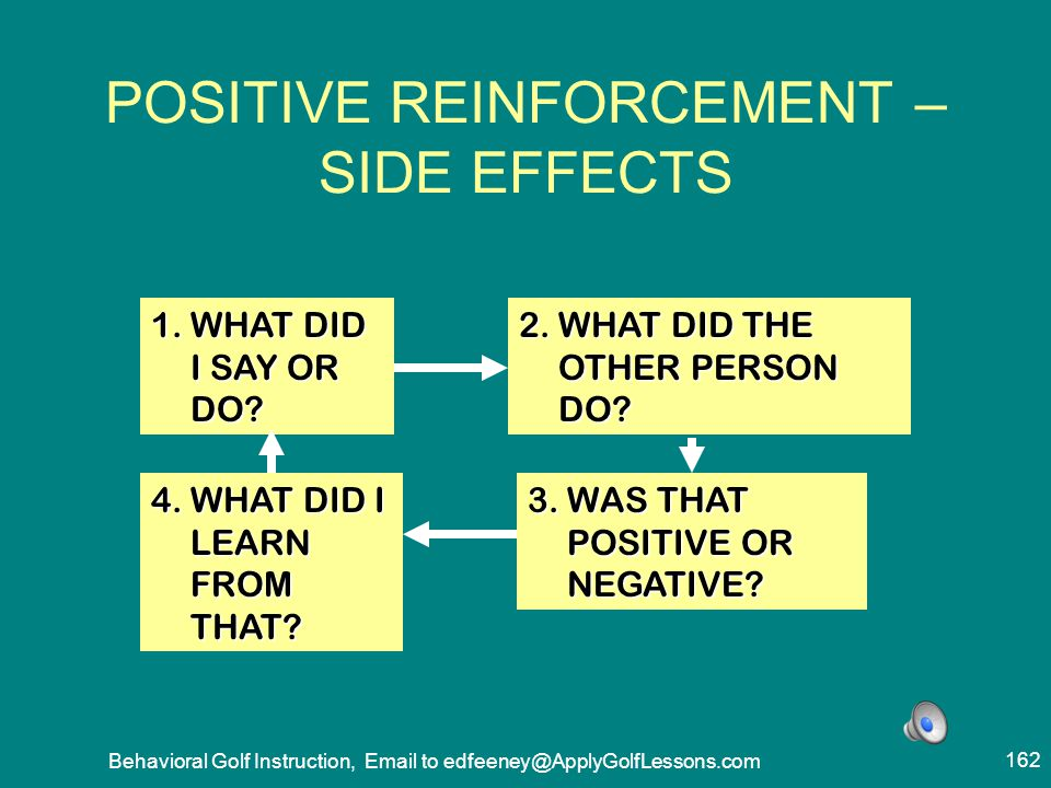 POSITIVE REINFORCEMENT – SIDE EFFECTS