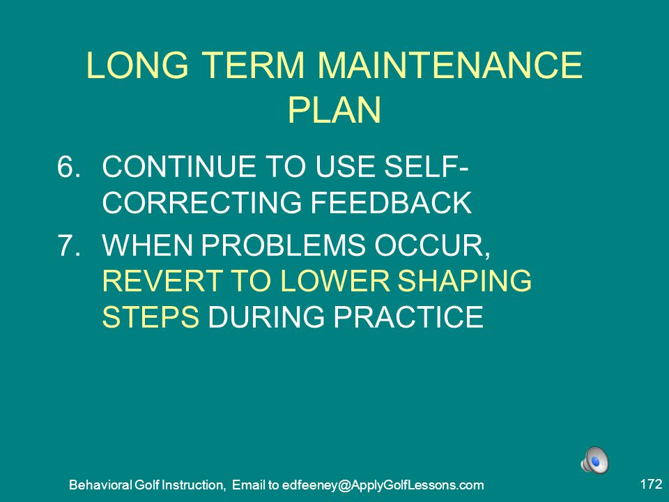 LONG TERM MAINTENANCE PLAN