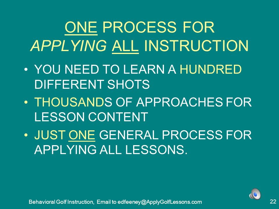 ONE PROCESS FOR APPLYING ALL INSTRUCTION