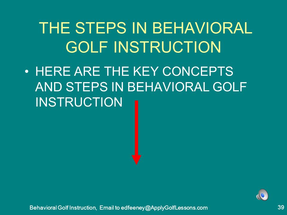 THE STEPS IN BEHAVIORAL GOLF INSTRUCTION