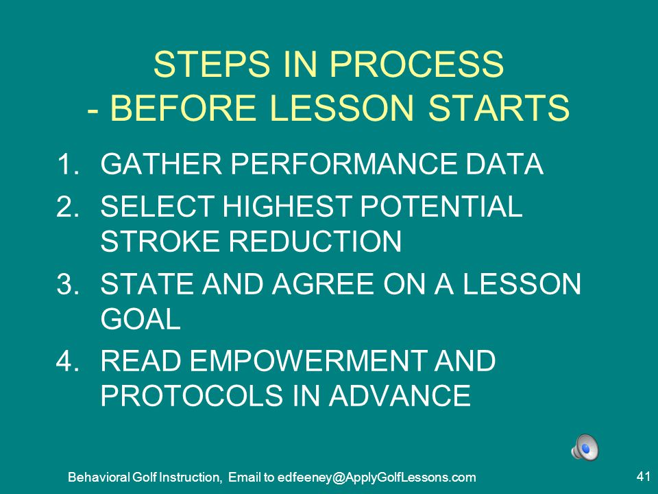 STEPS IN PROCESS - BEFORE LESSON STARTS