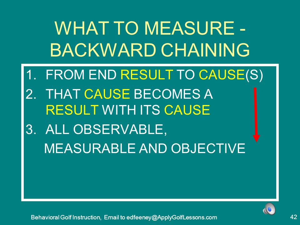 WHAT TO MEASURE - BACKWARD CHAINING