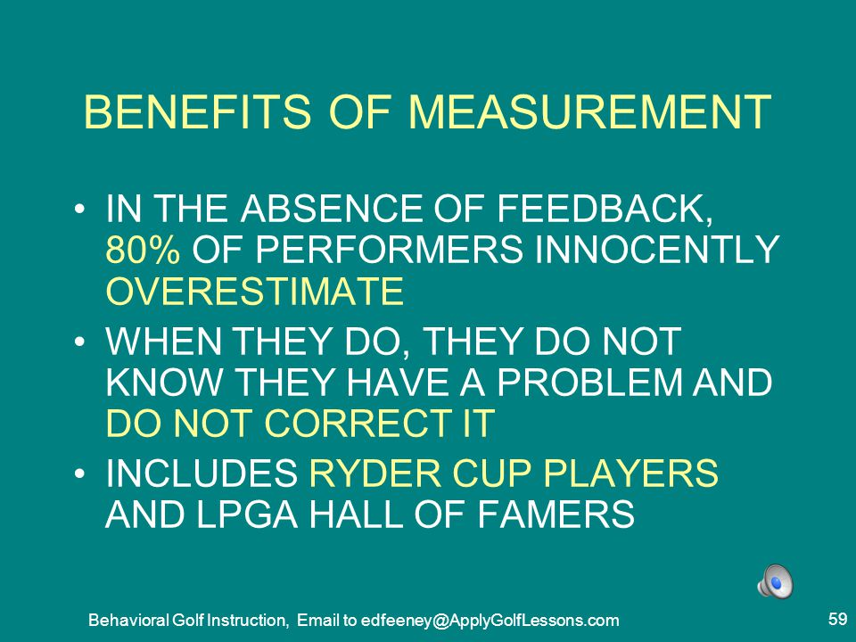 BENEFITS OF MEASUREMENT