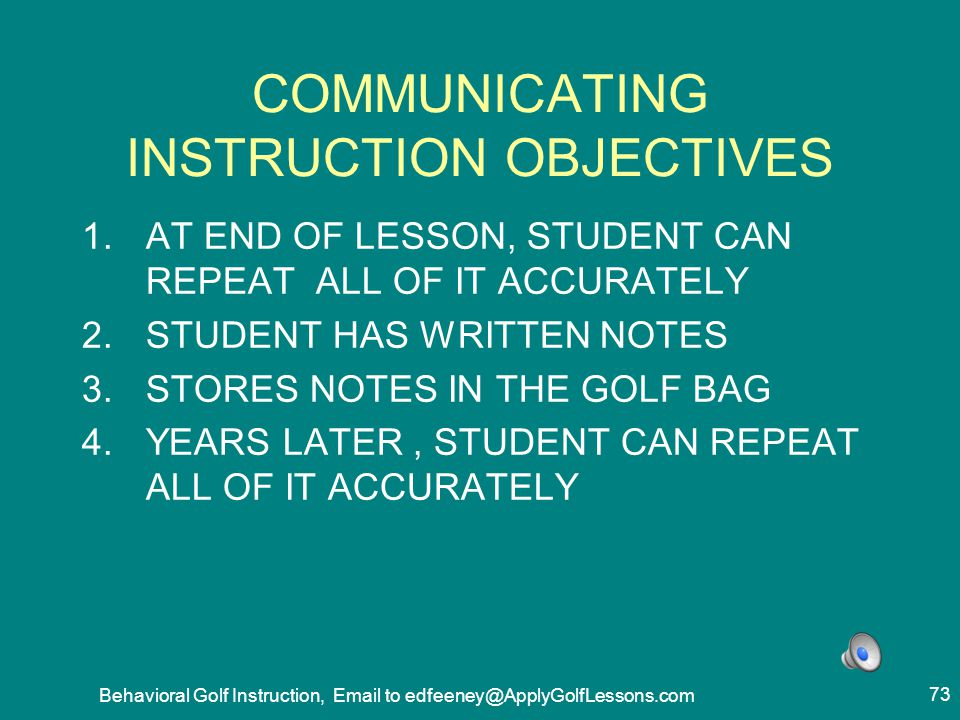 COMMUNICATING INSTRUCTION OBJECTIVES