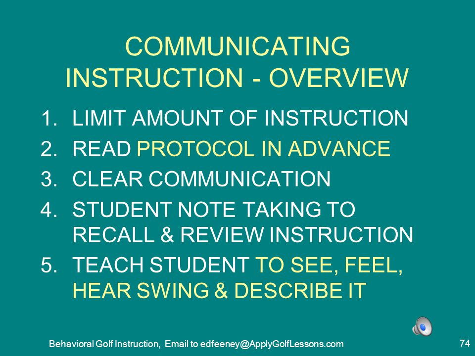 COMMUNICATING INSTRUCTION - OVERVIEW
