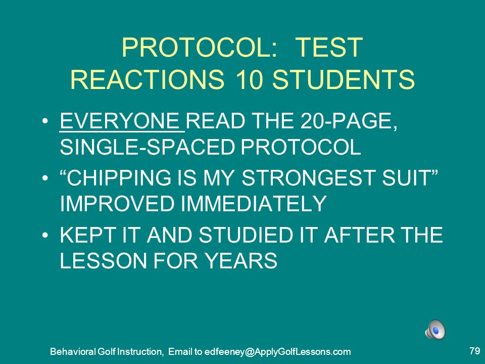 PROTOCOL: TEST REACTIONS 10 STUDENTS