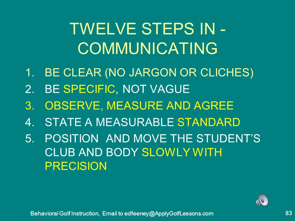 TWELVE STEPS IN -COMMUNICATING