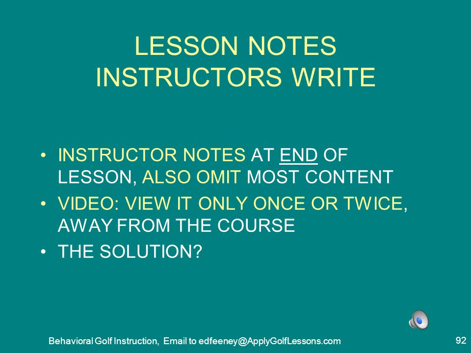 LESSON NOTES INSTRUCTORS WRITE