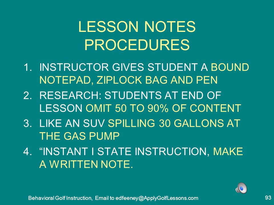 LESSON NOTES PROCEDURES