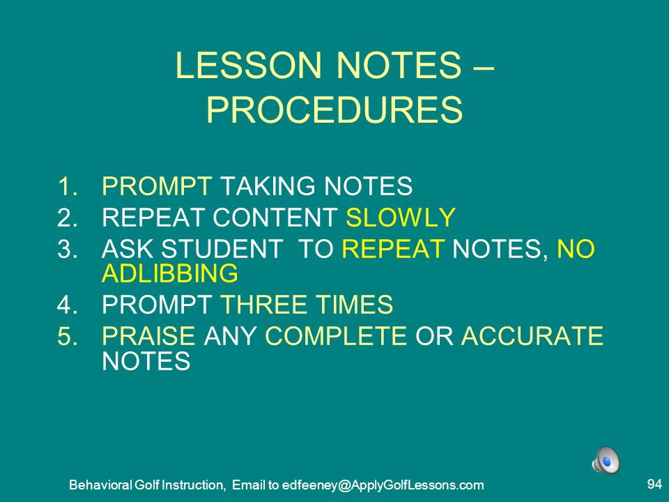 LESSON NOTES – PROCEDURES