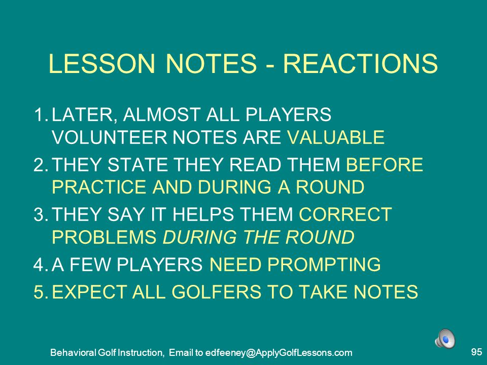 LESSON NOTES - REACTIONS
