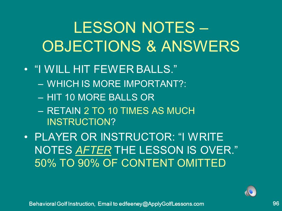 LESSON NOTES – OBJECTIONS & ANSWERS