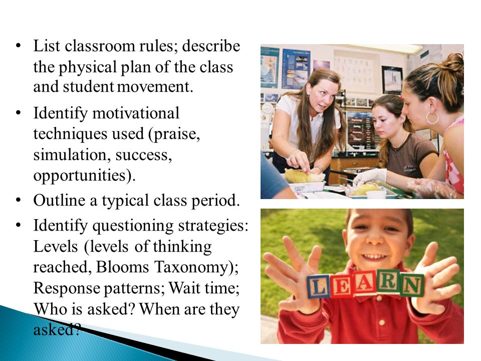List classroom rules; describe the physical plan of the class and student movement.
