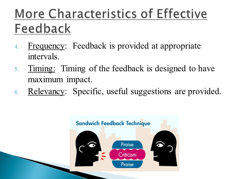 More Characteristics of Effective Feedback