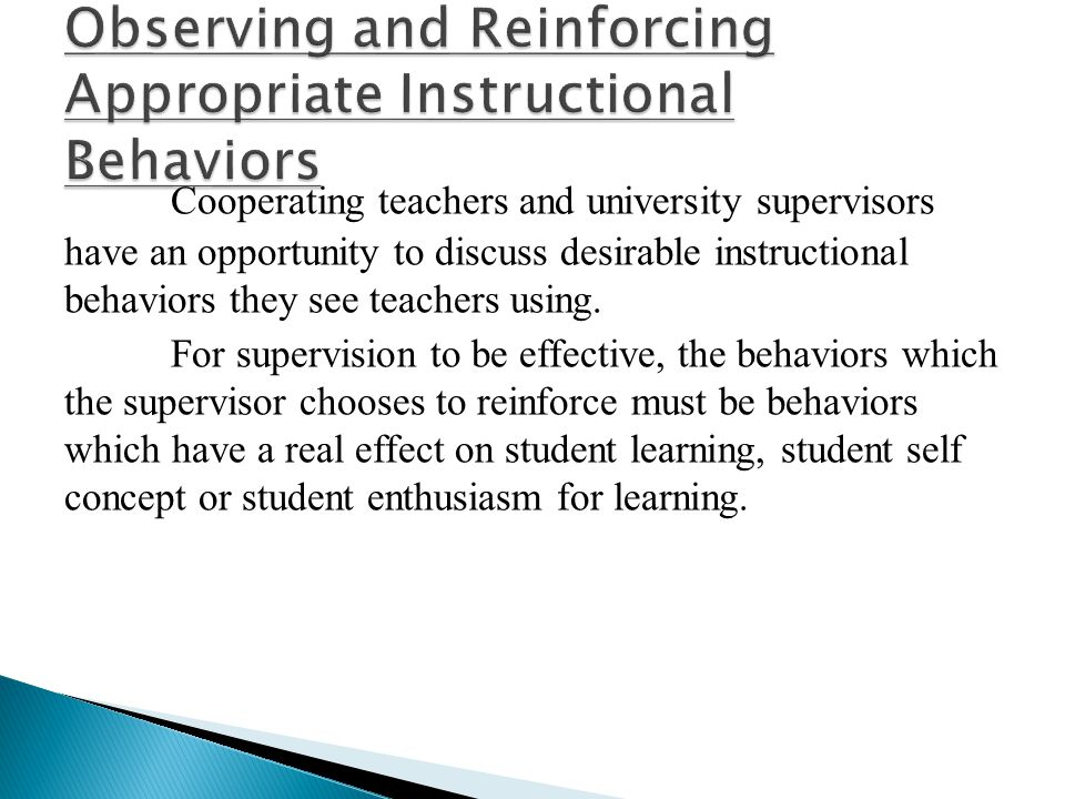 Observing and Reinforcing Appropriate Instructional Behaviors