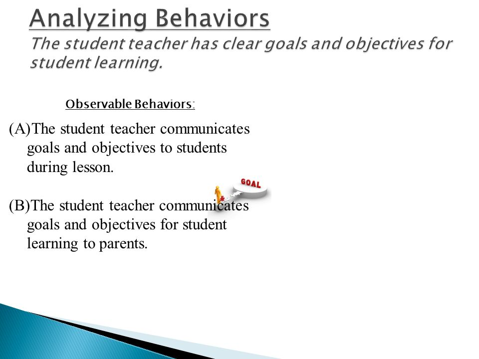Analyzing Behaviors The student teacher has clear goals and objectives for student learning.