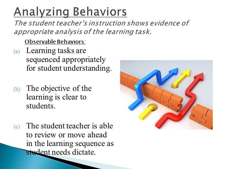 Analyzing Behaviors The student teacher's instruction shows evidence of appropriate analysis of the learning task.