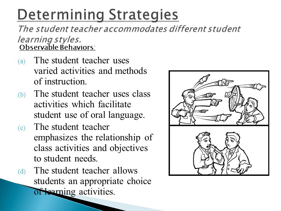 Determining Strategies The student teacher accommodates different student learning styles.