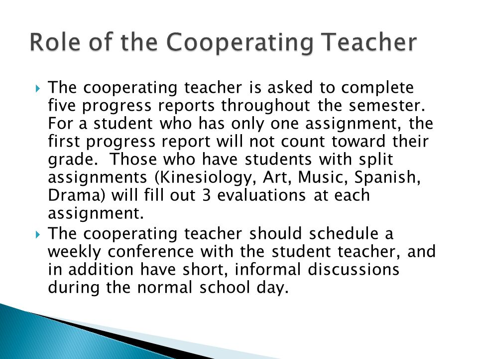 Role of the Cooperating Teacher